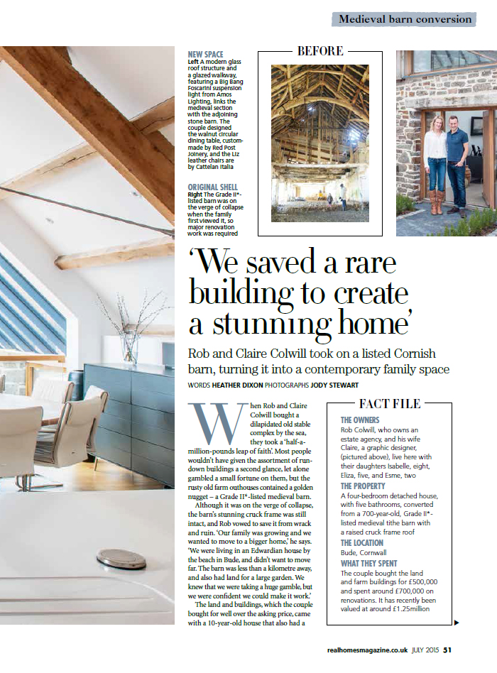 Maer Barn Real Homes Feature July 2015 The Bazeley Partnership Cornwall Architects