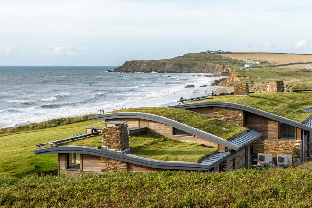 Atlantic View Bespoke Beach Cottages Widemouth Bay designed by Cornwall Architects The Bazeley Partnership Layton Bennett Photography