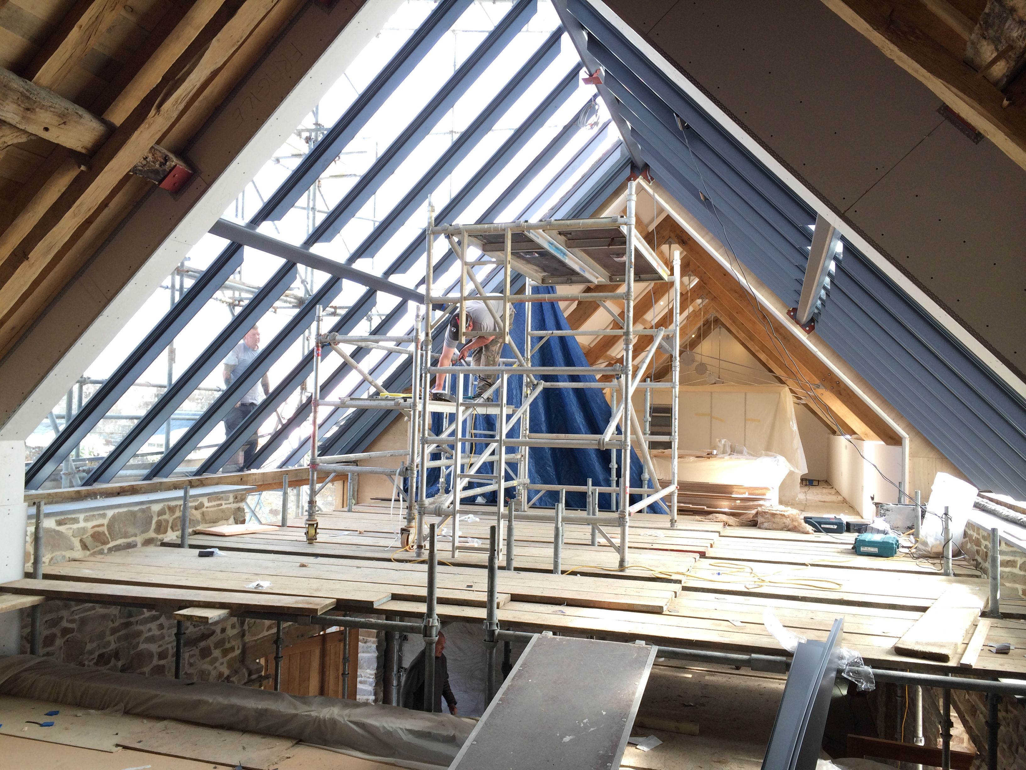 Maer Barn Conversion under Construction by The Bazeley Partnership Architects in Cornwall