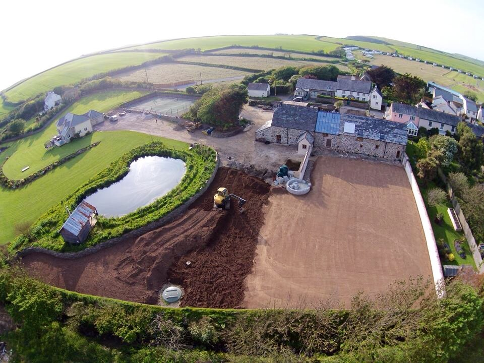 Maer Barn Conversion Birds Eye View by The Bazeley Partnership Architects in Cornwall