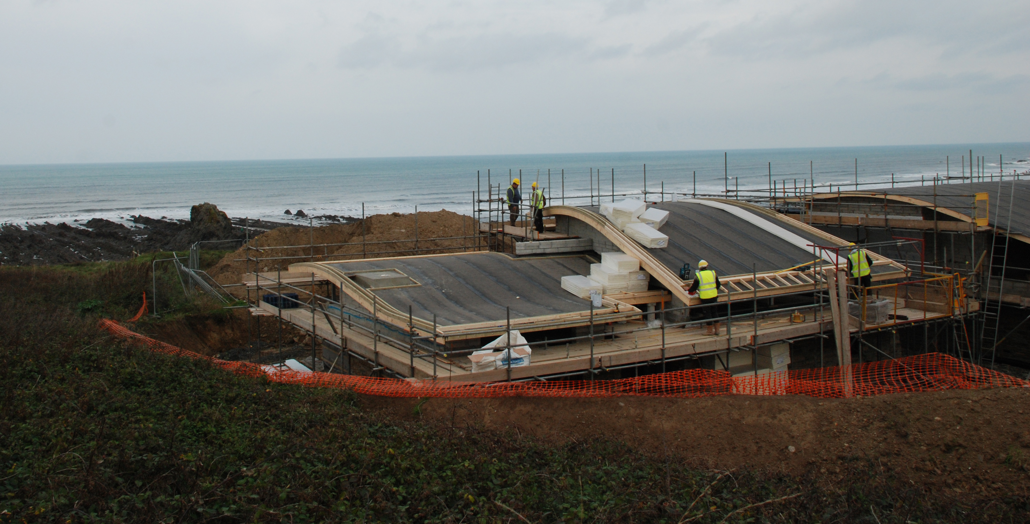 green roof construction atlantic view bude widemouth bay the bazeley partnership architects in cornwall