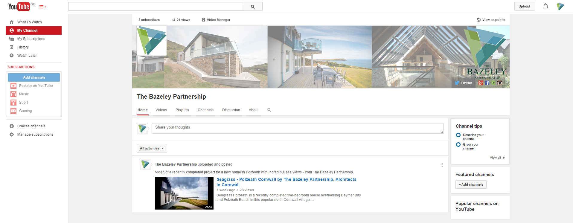 YouTube channel The Bazeley Partnership Architects in Cornwall