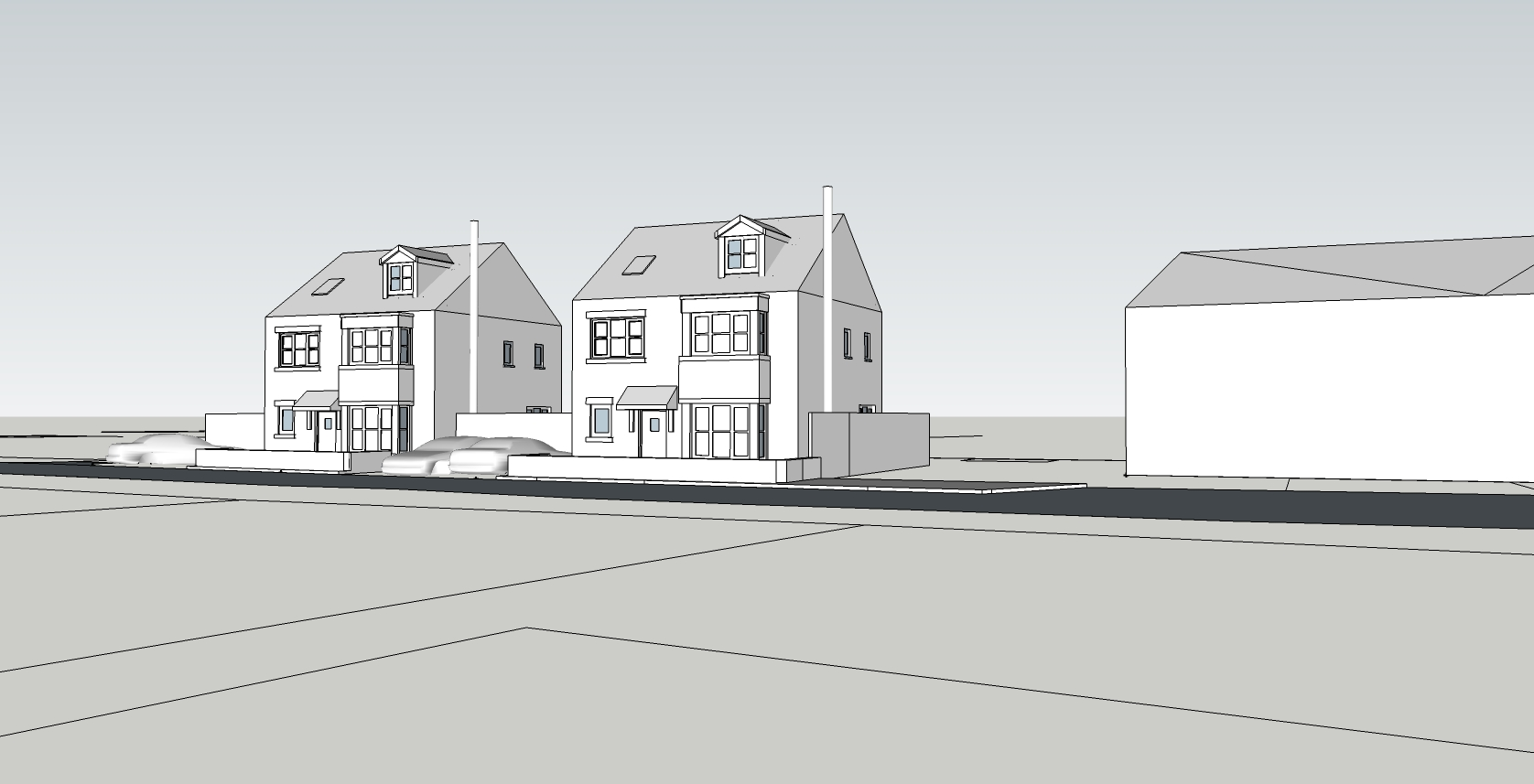 Longstone St Mabyn Detached Dwellings Sketchup by The Bazeley Partnership, Architects in Cornwall