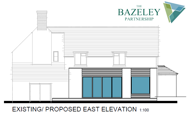 Proposed East Elevation Whalesborough Cottage Marhamchurch Bude by The Bazeley Partnership Architects in Cornwall
