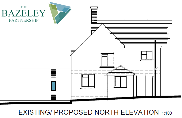 Proposed North Elevation Whalesborough Cottage Marhamchurch Bude by The Bazeley Partnership Architects in Cornwall