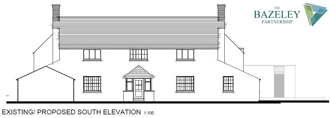 Proposed South Elevation Whalesborough Cottage Marhamchurch Bude by The Bazeley Partnership Architects in Cornwall