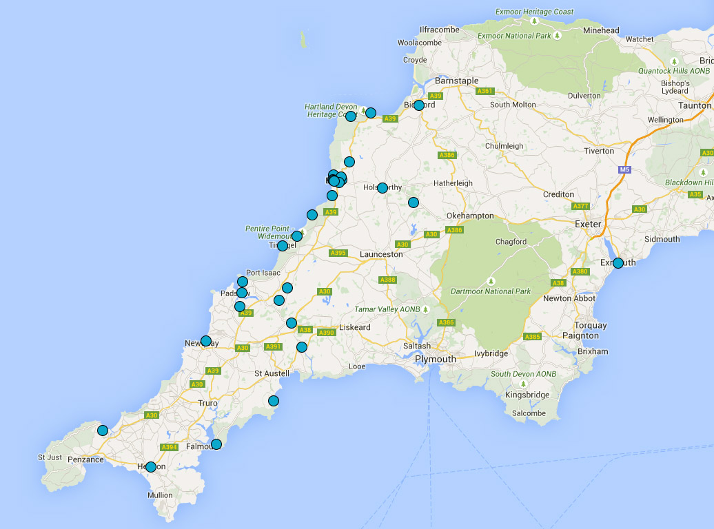 The Bazeley Partnership Coverage Map Architects in Cornwall