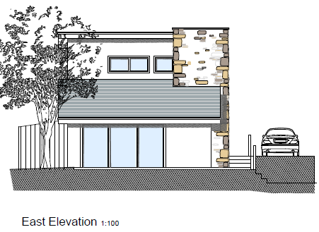 Lynstone Cottages East Elevation by The Bazeley Partnership Architects in Cornwall