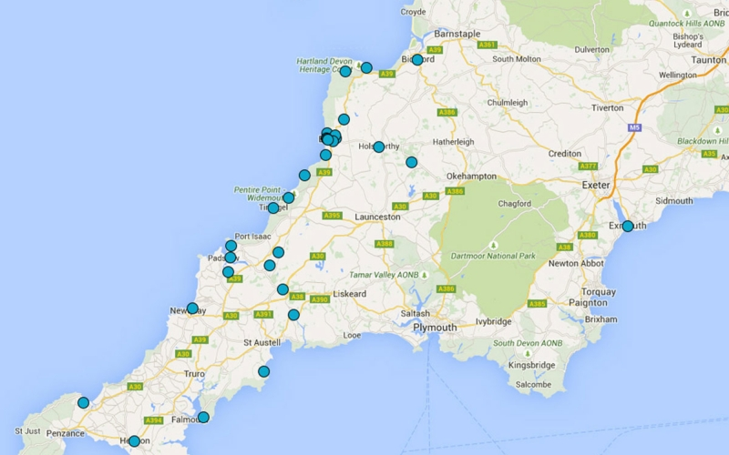 Map of Bazeley Architects projects in South West England Cornwall and Devon